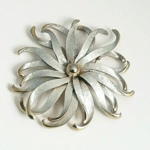 Silver Gold Tone Modernist Etched Flower Brooch